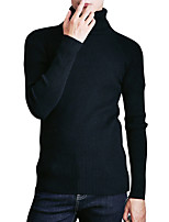 Men's Going out Casual/Daily Simple Regular Pullover,Solid Turtleneck Long Sleeves Polyester Spring Fall Medium Micro-elastic