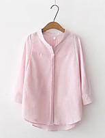 Camicia Da donna Per uscire Casual Sensuale Semplice Moda città Primavera Autunno,Tinta unita A strisce Colletto alla coreana Cotone Altro