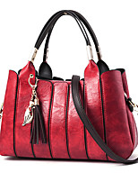Women Bags Winter All Seasons PU Shoulder Bag Zipper Ruffles for Casual Office & Career Black Blushing Pink Gray Dark Green Wine