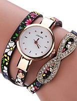 Women's Fashion Watch Bracelet Watch Unique Creative Watch Chinese Quartz PU Band Vintage Charm Elegant Casual Black Blue Red Grey Purple