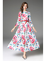 Swing Nero e bianco Vestito Da donna-Casual Stoffe orientali Fantasia floreale Colletto alla coreana Sopra il ginocchio Manica lunga