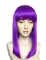 Women Synthetic Wig Capless Long Straight Bright Purple With Bangs Lolita Wig Party Wig Celebrity Wig Halloween Wig Cosplay Wig Natural