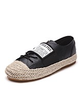 Women's Shoes PU Fall Comfort Sneakers Flat Heel Round Toe Lace-up For Casual Black White