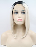 Women Synthetic Wig Lace Front Medium Straight Silver Bob Haircut Natural Wig Costume Wigs