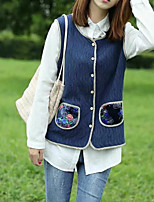 Women's Going out Casual/Daily Simple Spring Fall Vest,Solid Color Block Round Neck Sleeveless Long Cotton Others