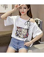 Women's Casual/Daily Simple Summer T-shirt,Solid Print Letter Boat Neck Short Sleeves Others