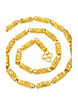 Men's Chain Necklaces Square Geometric Gold Plated Geometric Hip-Hop Jewelry For Club Street
