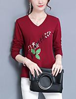 Tee-shirt Femme,Fleur Décontracté / Quotidien Grandes Tailles Vintage Chinoiserie Printemps Automne Manches Longues Col Arrondi Coton
