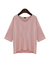 Women's Going out Casual/Daily Chinoiserie T-shirt,Solid Round Neck 3/4 Length Sleeves Cotton