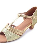 Kids' Latin Sparkling Glitter Glitter Leatherette Sandal Heel Practice Buckle Sparkling Glitter Chunky Heel Gold 1 - 1 3/4 Customizable