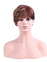 Women Synthetic Wig Capless Short Straight Brown Ombre Hair Natural Hairline Layered Haircut Party Wig Halloween Wig Natural Wigs Costume