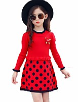 Girl's Birthday Casual/Daily Going out Solid Polka Dot Floral Dress,Cotton Rayon Spring Fall Long Sleeve