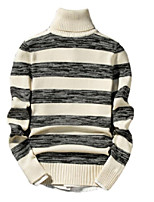 Men's Casual/Daily Simple Regular Pullover,Striped Turtleneck Long Sleeves Cotton Acrylic Fall Winter Medium Micro-elastic