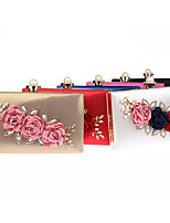Women Bags All Seasons PU Evening Bag Crystal Detailing Flower(s) for Event/Party Formal Black Silver Red Fuchsia Royal Blue