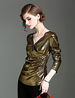 Tee-shirt Femme,Couleur Pleine Sortie Décontracté / Quotidien simple Automne Hiver Manches Longues Col en V Nylon Spandex