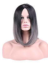 Women Synthetic Wig Capless Short Straight Black/Grey Ombre Hair Natural Hairline Middle Part Bob Haircut Party Wig Halloween Wig Cosplay