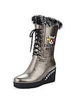 Femme Chaussures Polyuréthane Automne Hiver Confort Bottes à la Mode Bottes Talon Compensé Bout pointu Bottes Mi-mollet Plume Lacet