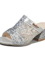 Damen Slippers & Flip-Flops Komfort Sommer PU Normal Kleid Paillette Block Ferse Gold Silber 5 - 7 cm