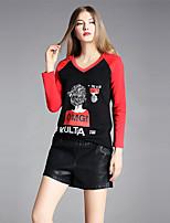 T-shirt Da donna Per uscire Semplice Autunno,Con stampe Alfabetico A V Cotone Elastene Manica lunga