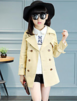 Girls' Solid Trench Coat,Cotton Polyester Spring Fall Long Sleeve