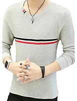 Herren Standard Pullover-Lässig/Alltäglich Übergröße Einfarbig Rundhalsausschnitt Langarm Baumwolle Herbst Winter Mittel Mikro-elastisch