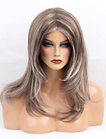 Women Synthetic Wig Capless Long Natural Wave Brown/White Highlighted/Balayage Hair Middle Part Natural Wigs Costume Wig