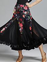 Ballroom Dance Tutus & Skirts Women's Performance Tulle Velvet Pattern/Print Natural Skirts