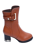 Women's Shoes PU Fall Winter Comfort Combat Boots Boots Low Heel With For Casual Brown Black