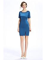 Damen Hülle Kleid-Ausgehen Lässig/Alltäglich Solide Druck Rundhalsausschnitt Knielang Kurzarm Baumwolle Polyester Sommer Mittlere Hüfthöhe