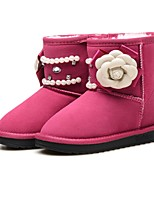 Girls' Shoes Leather Winter Comfort Flower Girl Shoes Snow Boots Boots Mid-Calf Boots Rhinestone Beading Sparkling Glitter Flower For