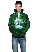Men's Sports Outdoor Casual/Daily Simple Hoodie 3D Print Hooded Inelastic Polyester Spandex Long Sleeve Spring Fall