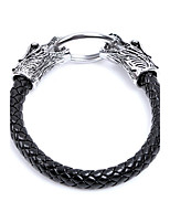 Men's Leather Bracelet Animal Design Punk Leather Alloy Round Snake Jewelry For Halloween Street