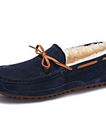 Men's Shoes Pigskin Winter Moccasin Loafers & Slip-Ons Bowknot For Casual Khaki Blue Brown