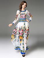 Linea A Vestito Da donna-Feste Per uscire Casual Sensuale Vintage Sofisticato Fantasia floreale Rotonda Maxi Manica lunga Poliestere