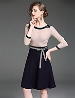 YIYEXINXIANG Women's Casual/Daily Work Simple Sheath Dress,Solid Round Neck Above Knee Long Sleeves Polyester Nylon Fall Mid Rise Stretchy Medium