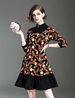 ALLA ONER Women's Going out Casual/Daily Cute Loose Dress,Print Stand Above Knee 3/4 Length Sleeves Cotton Nylon Spandex Fall Winter Mid Rise