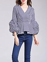 Women's Casual/Daily Sexy Spring Fall Shirt,Striped V Neck Long Sleeves Cotton Medium