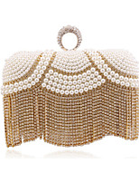 Women Bags All Seasons Polyester Evening Bag Crystal Detailing Pearl Detailing for Wedding Event/Party Gold Silver