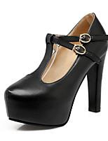 Для женщин Обувь Полиуретан Весна Осень Удобная обувь Оригинальная обувь Обувь на каблуках На толстом каблуке Заостренный носок Пряжки