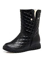 Для женщин Обувь Дерматин Весна Зима Модная обувь Ботинки На танкетке Круглый носок Ботинки Бант Назначение Повседневные Белый Черный