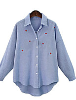 Women's Going out Casual Summer Shirt,Striped Shirt Collar Long Sleeves Cotton Medium
