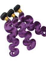 vierge Cheveux Indiens A Ombre Ondulation naturelle Extensions de cheveux 3 Pièces Noir / Bleu Noir / Violet