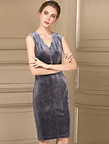Damen Hülle Kleid-Party Einfach Druck V-Ausschnitt Knielang Ärmellos Polyester Sommer Mittlere Hüfthöhe Mikro-elastisch Mittel