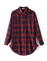 Camicia Da donna Casual Romantico Primavera Autunno,Monocolore Colletto Cotone Manica lunga Sottile Medio spessore