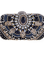 Women Bags All Seasons Polyester Evening Bag Crystal Detailing Pearl Detailing Sequins for Wedding Event/Party Black