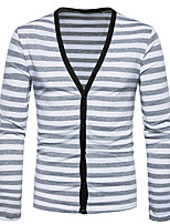 Men's Casual/Daily Simple Regular Cardigan,Striped V Neck Long Sleeves Cotton Spring Fall Medium Stretchy