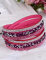 Women's Leather Bracelet Wrap Bracelet Personalized Bling Bling Leather Rhinestone Geometric Jewelry For Wedding Daily