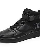 Herren Schuhe PU Frühling Herbst Komfort Sneakers Walking Schnürsenkel Klettverschluss Für Normal Weiß Schwarz
