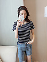 Women's Going out Simple Street chic Summer T-shirt,Striped Round Neck Short Sleeves Others Opaque