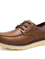 Men's Shoes Real Leather Spring Fall Comfort Oxfords Lace-up For Casual Office & Career Dark Brown Light Brown Black